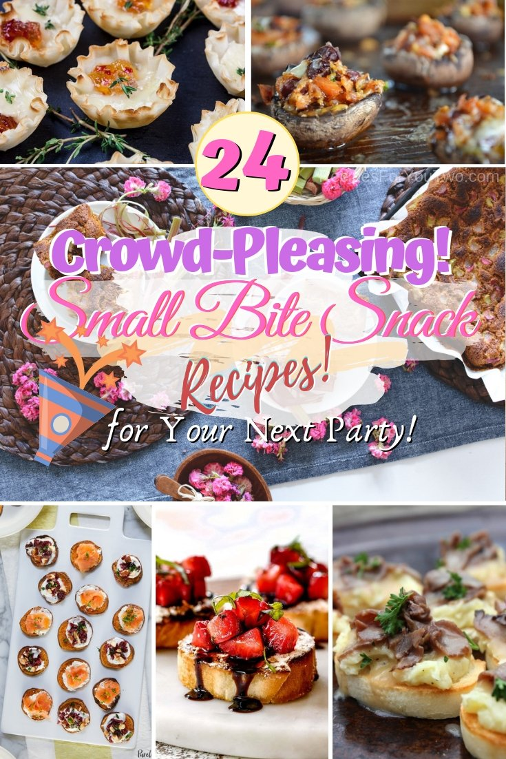Make the best small bite snacks for your next party. These recipes are real crowd-pleasers! #recipe #snacks #smallbites #food #partyfood