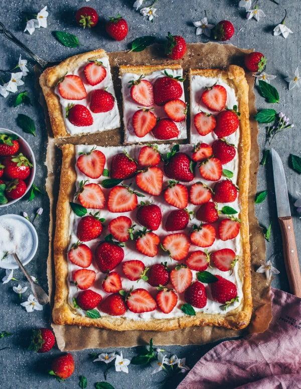 Vegan Strawberry Cream Puff Pastry Tart – Bianca Zapatka #strawberry #dessert #berries #food #recipe