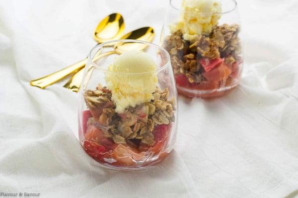 Gran Marnier Strawberry Rhubarb Crisp #strawberry #dessert #berries #food #recipe