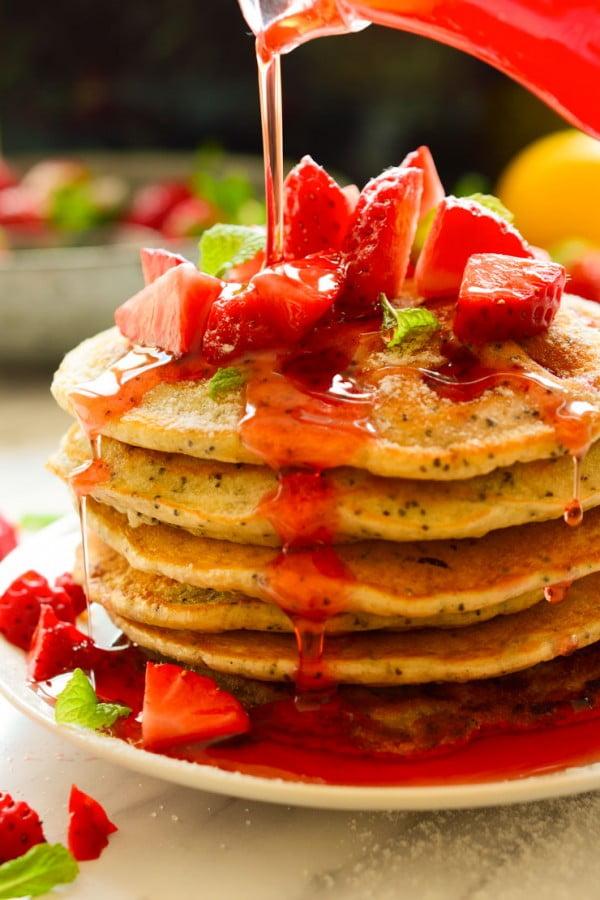 Vegan Strawberry Lemon Poppy Seed Pancakes #strawberry #dessert #berries #food #recipe