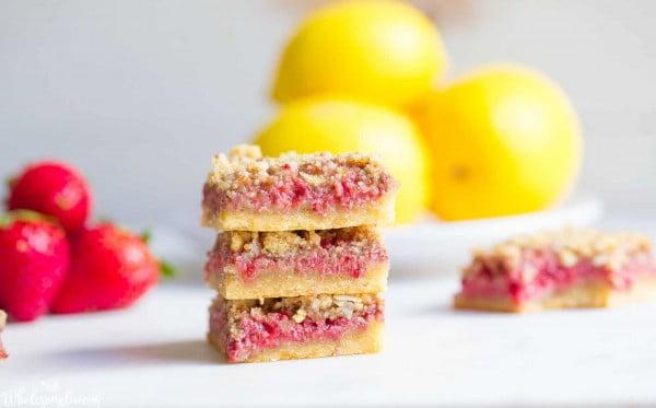 Strawberry Lemon Bars (Paleo + Vegan) #strawberry #dessert #berries #food #recipe