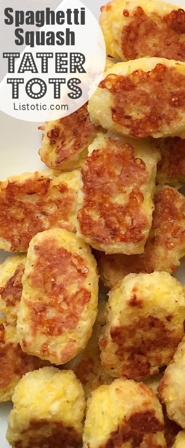 Easy Baked Spaghetti Squash Tater Tots Recipe (healthy snack idea!) #tatertots #recipe #snack #breakfast