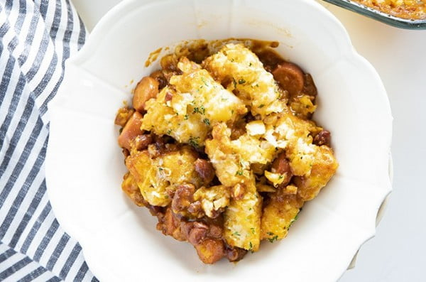 Tater Tot Chili Dog Casserole #tatertots #recipe #snack #breakfast