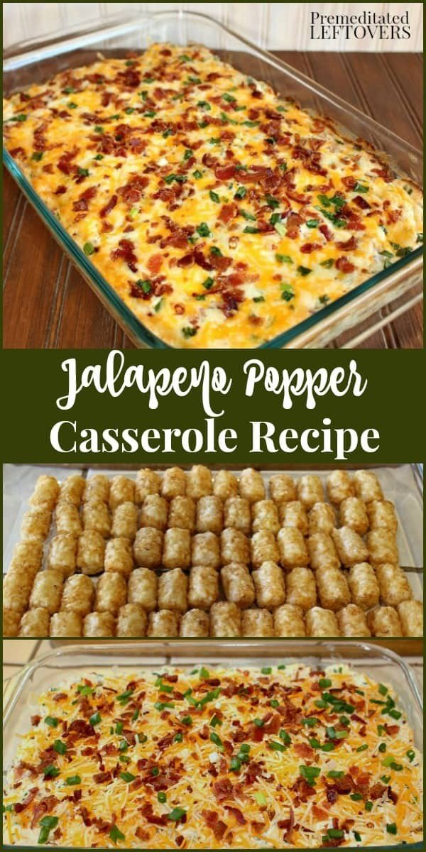 Jalapeno Popper Casserole Recipe #tatertots #recipe #snack #breakfast