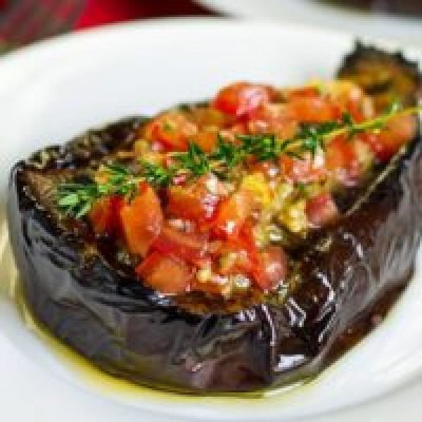 Baked Eggplant Stuffed with Italian Tomato Salsa #tomato #recipe #dinner