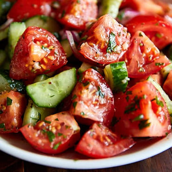 Rustic Cucumber and Tomato Salad #tomato #recipe #dinner