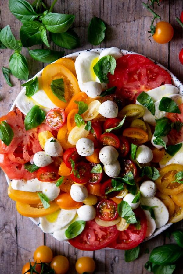 Classic Caprese Salad #tomato #recipe #dinner