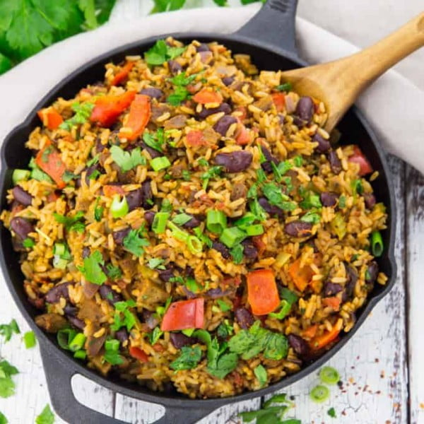 Vegan Jambalaya with Beans #vegan #dinner #recipe #healthy #food