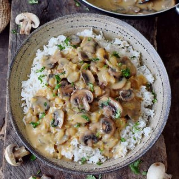 Vegan Mushroom Stroganoff #vegan #dinner #recipe #healthy #food