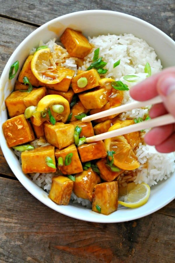 Vegan Sticky Lemon Tofu #vegan #dinner #recipe #healthy #food