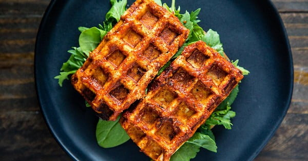 Barbecued Waffle Iron Tofu #wallfeiron #wafflemaker #waffles #dinner #snacks #lunch #food #recipe