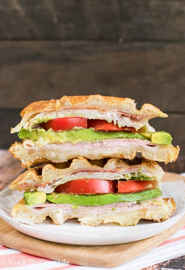 Turkey Club Waffle Sandwich #wallfeiron #wafflemaker #waffles #dinner #snacks #lunch #food #recipe
