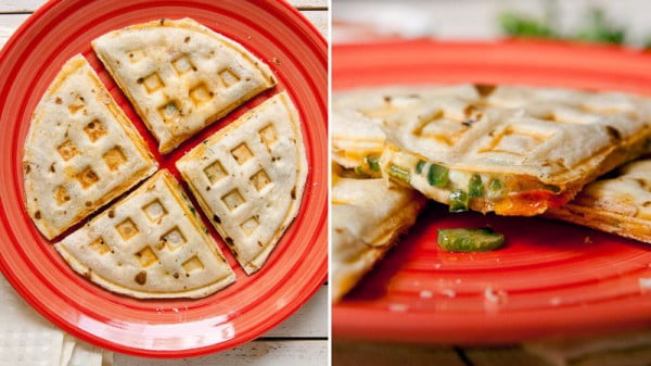 Waffle Iron Quesadillas #wallfeiron #wafflemaker #waffles #dinner #snacks #lunch #food #recipe