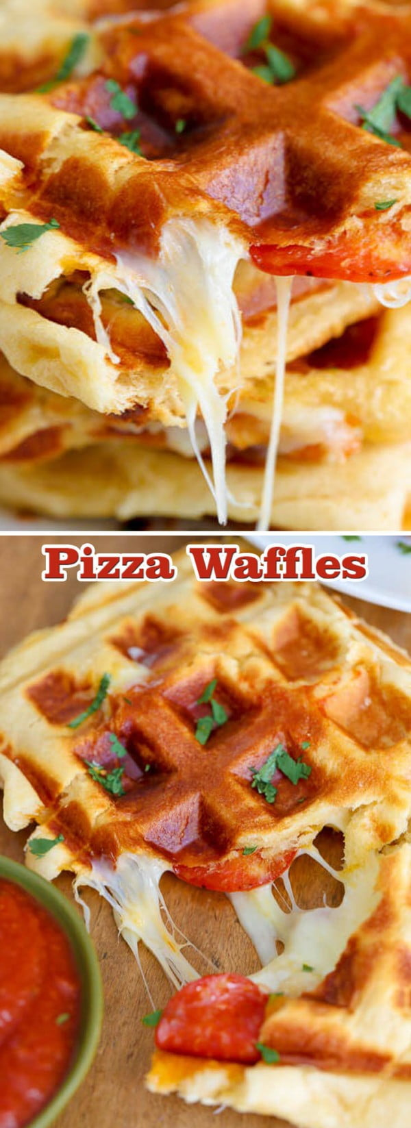 Pizza Waffles #wallfeiron #wafflemaker #waffles #dinner #snacks #lunch #food #recipe