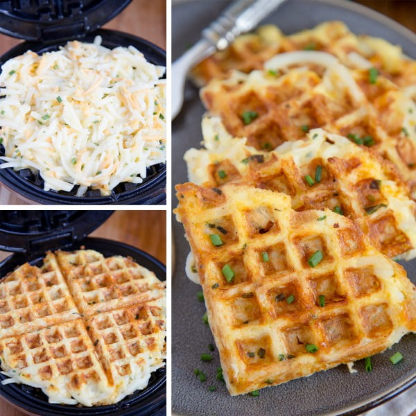 Egg & Cheese Hash Brown Waffles #wallfeiron #wafflemaker #waffles #dinner #snacks #lunch #food #recipe