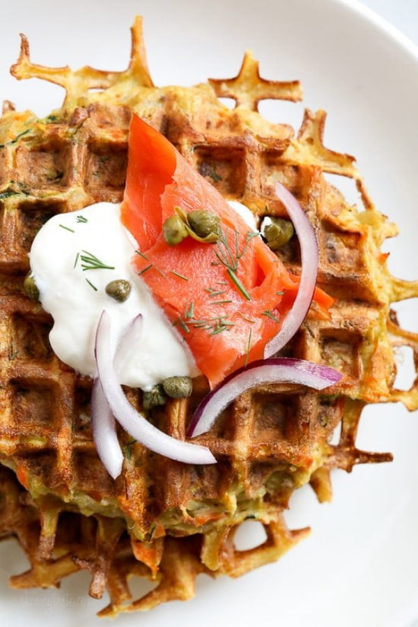 Veggie Latkelles (Waffled Latkes) with Lox #wallfeiron #wafflemaker #waffles #dinner #snacks #lunch #food #recipe