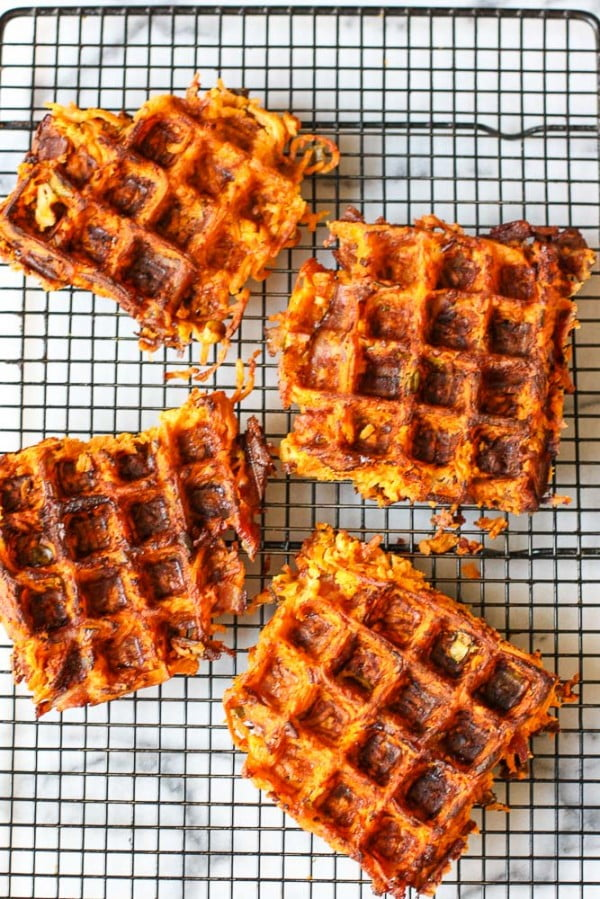 Sweet Potato Bacon Waffles Recipe #wallfeiron #wafflemaker #waffles #dinner #snacks #lunch #food #recipe
