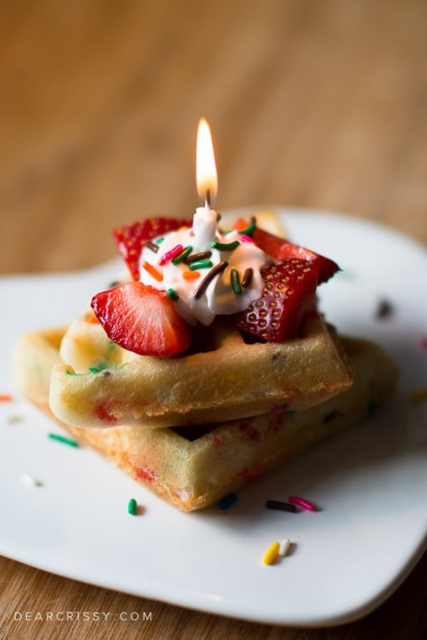 Cake Batter Birthday Waffles #wallfeiron #wafflemaker #waffles #dinner #snacks #lunch #food #recipe