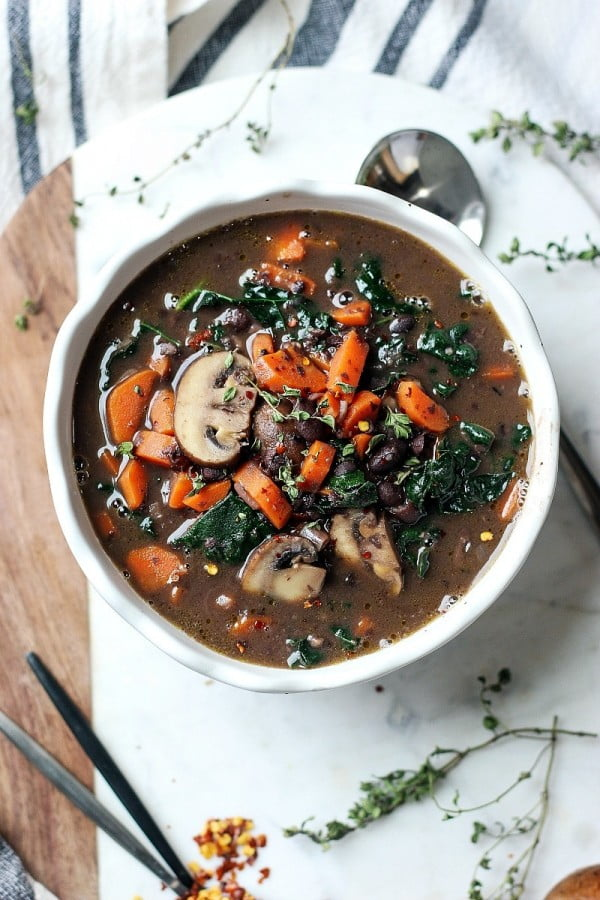 Black Bean Mushroom Carrot Soup #beans #dinner #recipe