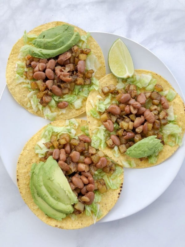 Pinto Bean and Potato Tostadas #beans #dinner #recipe