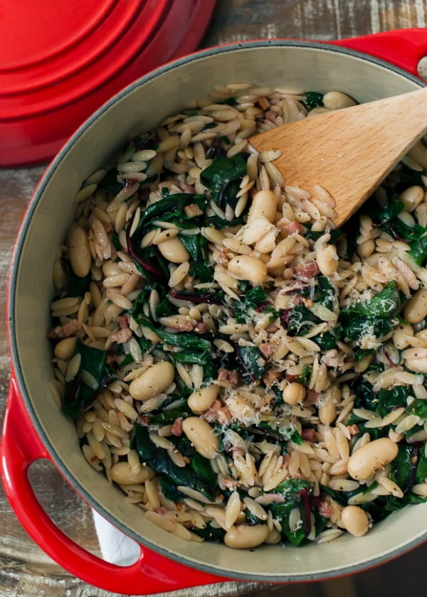 Swiss Chard with Orzo, Cannelini Beans and Pancetta #beans #dinner #recipe