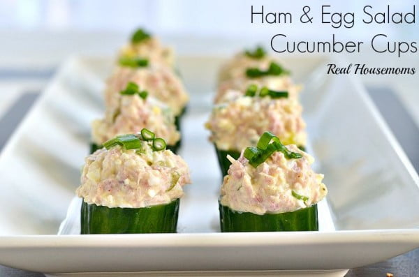 Ham and Egg Salad Cucumber Cups #recipe #eggs #boiled #breakfast #snack