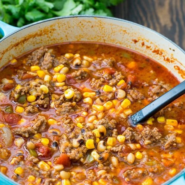 Black-Eyed Pea and Sausage Chili #chili #recipe #dinner