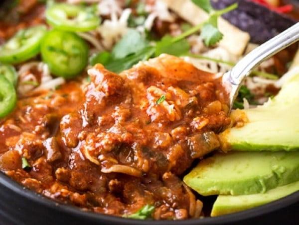 Smoky Beef and Poblano Pepper Chili #chili #recipe #dinner