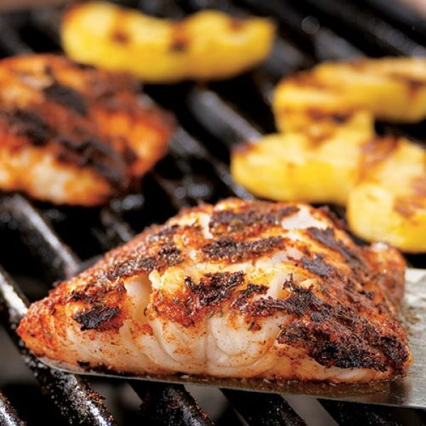 Blackened Cod With Grilled Pineapple #cod #fish #dinner #recipe