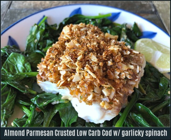 Almond Parmesan Crusted Low Carb Cod with garlicky spinach #cod #fish #dinner #recipe