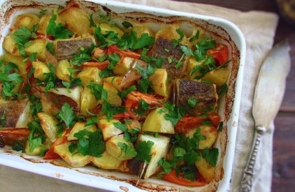 Cod in the oven with tomato and potatoes #cod #fish #dinner #recipe