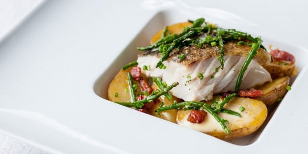 Pan-Roast Cod & Jersey Royals With Pancetta #cod #fish #dinner #recipe