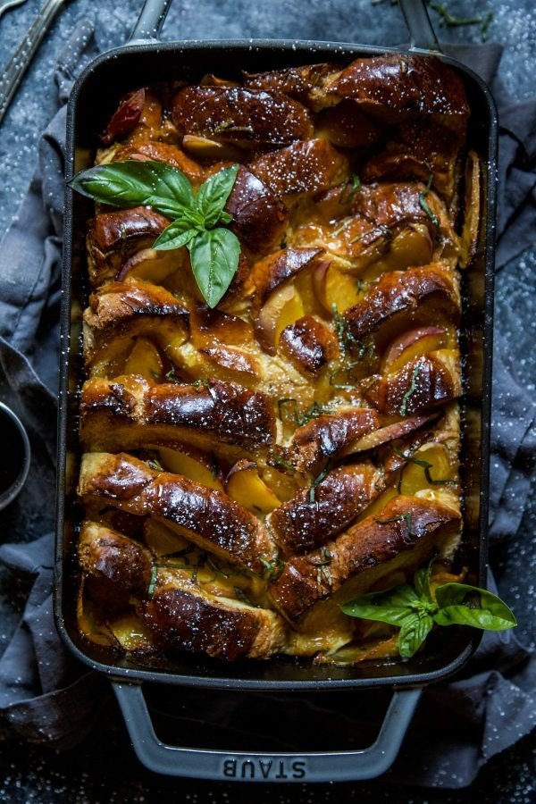 Peach & Basil French Toast Bake #frenchtoast #bake #dinner #breakfast #recipe