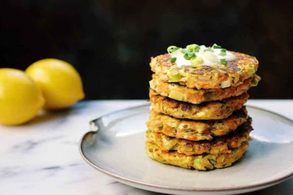 Crispy Paleo Zucchini Carrot Fritters #fritters #recipe #dinner