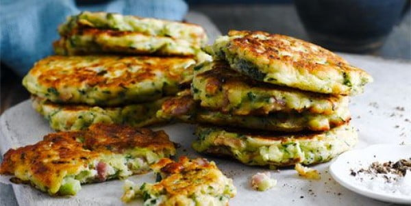 Courgette and bacon fritters #fritters #recipe #dinner