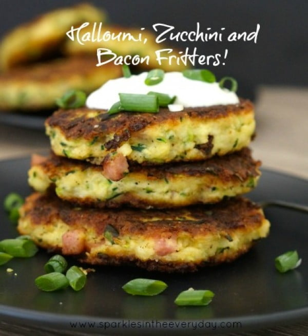 Easy Halloumi, Zucchini and Bacon Fritters! (GF) #fritters #recipe #dinner