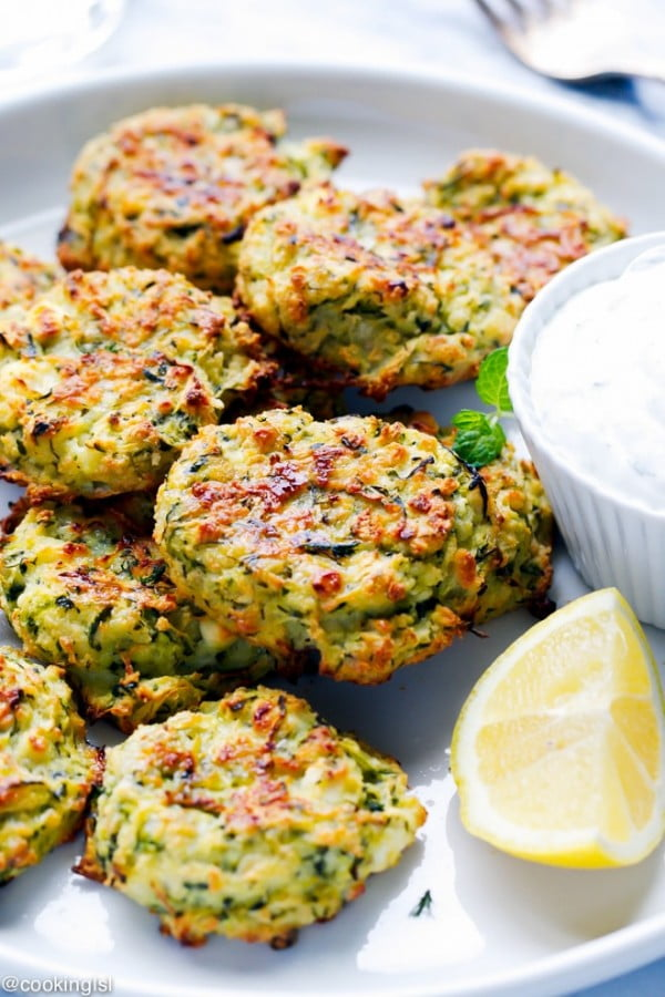 Zucchini And Feta Fritters #fritters #recipe #dinner