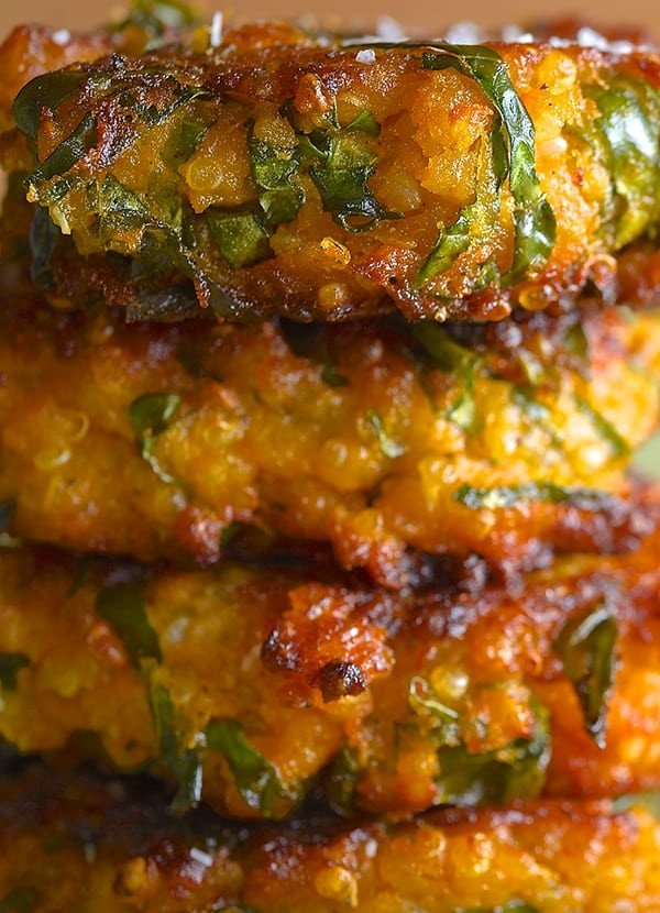 Sweet Potato Kale and Quinoa Fritters #fritters #recipe #dinner