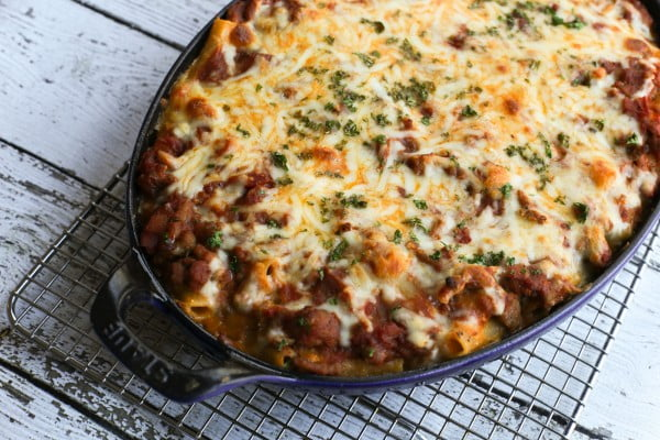 Baked Ziti Recipe With Ground Beef and Italian Sausage #groundbeef #dinner #recipe #beef