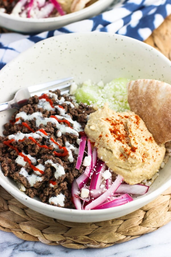 Loaded Mediterranean Beef Rice Bowl #groundbeef #dinner #recipe #beef