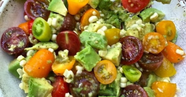 Corn, Tomato, and Avocado Salad #easter #easterdinner #dinner #recipe #healthy