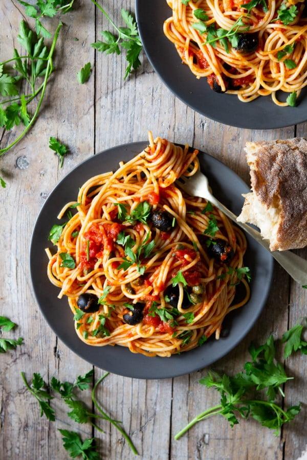 Spaghetti with Puttanesca Sauce #italian #dinner #recipe