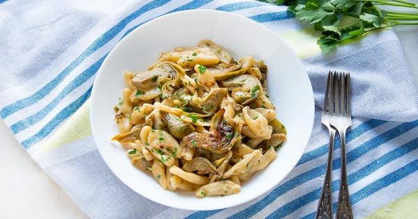 Cavatelli Pasta with Artichokes #italian #dinner #recipe