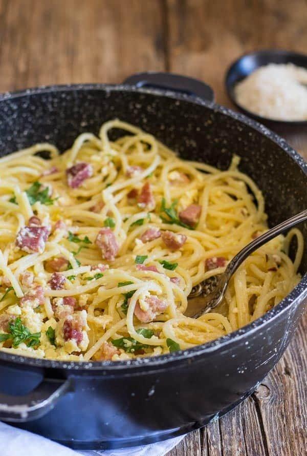 Classic Carbonara Pancetta and Egg Pasta #italian #dinner #recipe