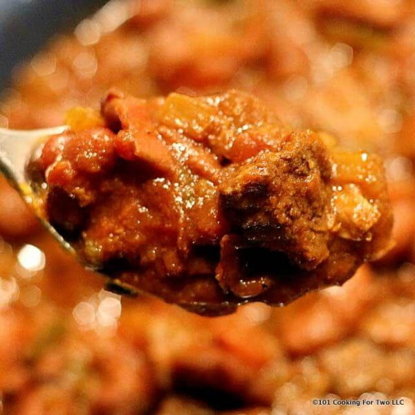 Crock Pot Stew Meat Chili from 101 Cooking for Two #meatstew #meat #stew #dinner #recipe