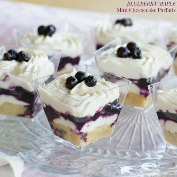 Blueberry Maple Mini Cheesecake Parfaits #recipe #nobake #dessert #recipe