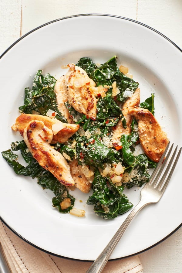 Recipe: Parmesan Chicken and Kale Sauté #recipe #chicken #quick #easy #dinner