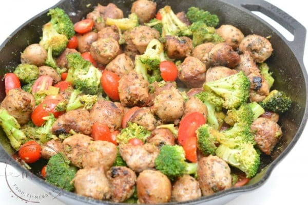 Easy One Pan Keto Italian Sausage Skillet #sausage #dinner #recipe