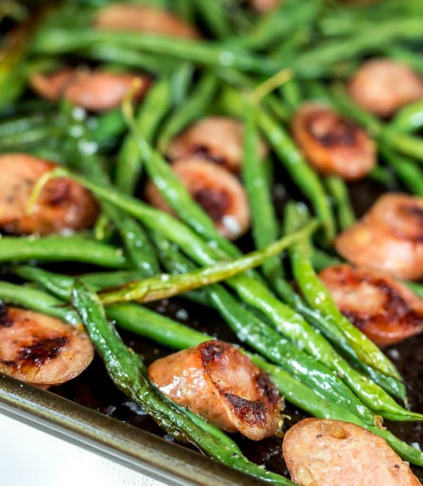Sheet Pan Green Beans and Sausage Dinner #sausage #dinner #recipe