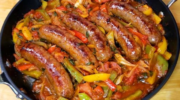 Italian Sausage Peppers and Onions Recipe #sausage #dinner #recipe